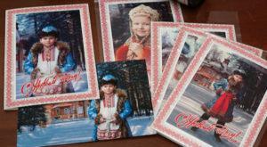 Образцы открыток с школьного проекта с древнерусскими костюмами и съёмкой видео бэкстейджа