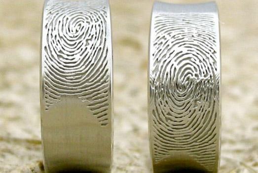 свадебные кольца с отпечатками пальцев