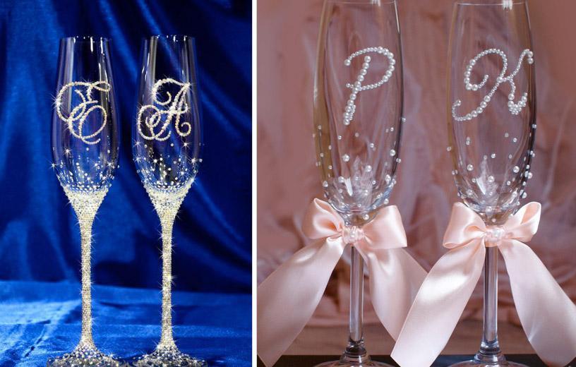 Лентами украшаем бокалы на свадьбу своими руками 748